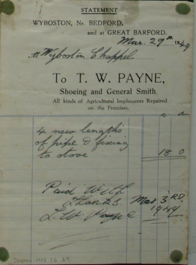 Invoice from T W Payne, Shoeing & General Smith of Wyboston for repairs to Wyboston Chappel stove,