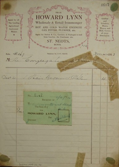 Invoice from Howard Lynn, Ironmonger of St Neots to the Congregational Church, December 1913