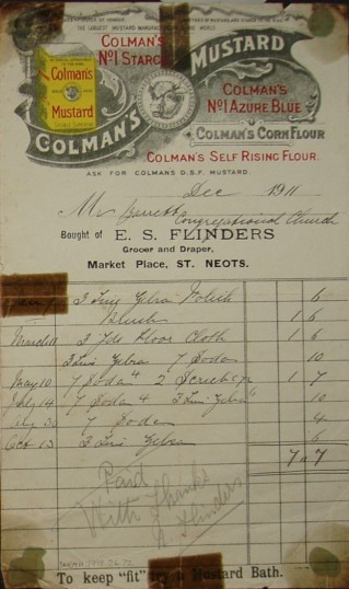 Congregational Church, St Neots - Invoice from E.S.Flinders, Grocer & Draper of Market Square, St Neots for goods supplied, dated December 1911
