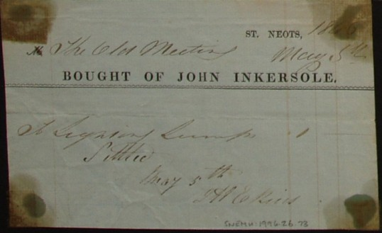 Old Meeting House, St Neots - Invoice from John Inkersole of St Neots for a lamp, dated May 1846