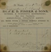 Congregational Church, St Neots - Invoice from E D Fisher & Sons, Ironmongers of Market Square, St Neots for goods supplied, dated October 1911