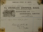 Congregational Church, St Neots - Invoice from Charles Cooper, Shoeing & General Smith of Cambridge Street, St Neots, dated October 1910