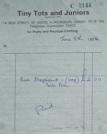 Invoice from Tiny Tots and Juniors of New Street, St Neots for a toy pink elephant, June 1986
