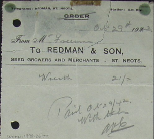 Invoice from Redman & Son, Seed Growers and Merchants of St Neots for  a wreath supplied to Mr Freeman, October 1942