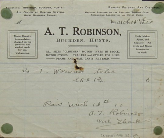 Invoice from A.T. Robinson, Motor Repairs & Accessories of Buckden for a Warwick Tube, dated March 1910
