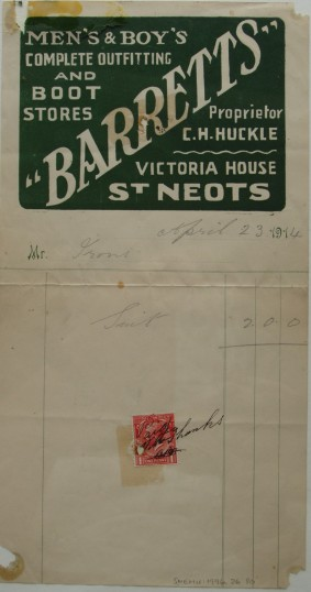 Invoice for a suit for Mr Irons from Barrett's Outfitters and Boot Stores, Victoria House, St Neots, April 1914