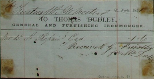 Old Meeting House Chapel - Invoice for gas repairs from Thomas Dudley, General and Furnishing Ironmonger of St Neots,  dated 1851