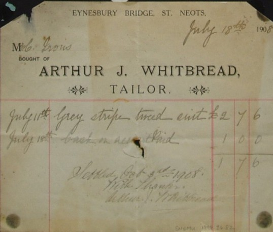 Invoice from Arthur J. Whitbread, tailor of Eynesbury Bridge, St Neots for a  grey stripe tweed suit for Mr C. Irons, dated July 1908