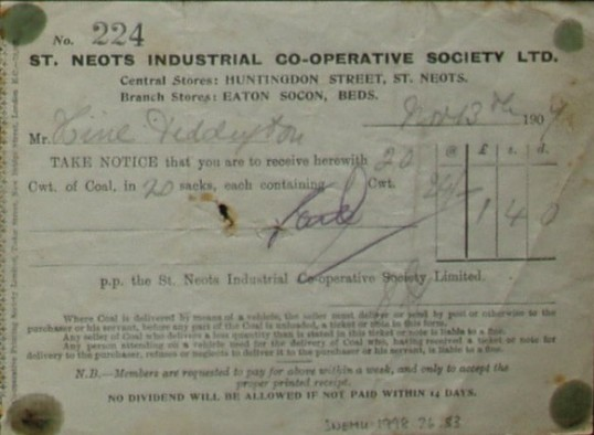 St Neots Industrial Co-op Society Ltd - invoice for coal supplied to Mr Hine of Diddington, dated 1909