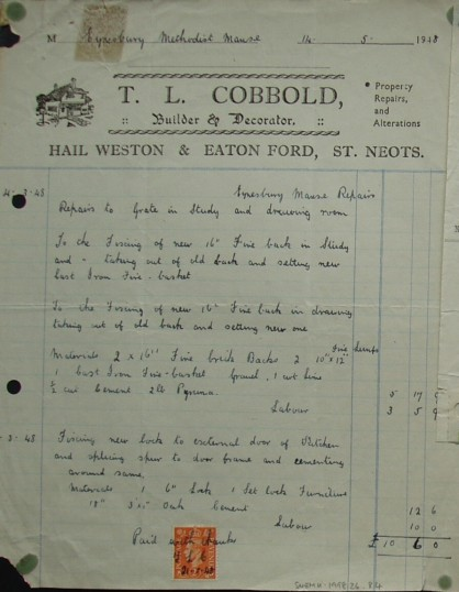 Invoice from T.L. Cobbold, Builder and Decorator of Hail Weston and Eaton Ford with details of work at Eynesbury Methodist Manse, May 1948