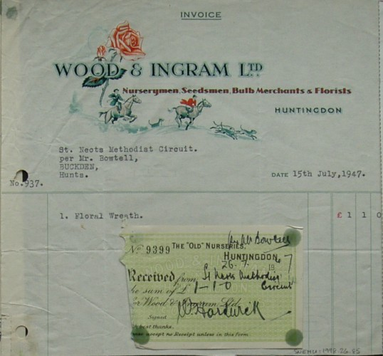 Invoice from Wood & Ingram Ltd, Nurserymen and Florists of Huntingdon for a floral wreath supplied to St Neots Methodist Circuit, July 1947