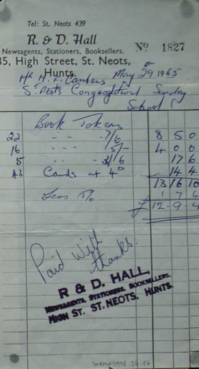 Invoice from R & D Hall, Stationers of High Street, St Neots for book tokens for Congregational Church Sunday School, May 1965