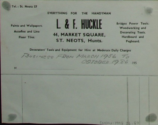 Bill head from L & F Huckle, Decorators & Suppliers of Market Square, St Neots, dated 1950s