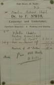 Invoice from F. Smith, Carpenter & Undertaker of High Street, St Neots,for work on Wyboston Primitive Methodist Chapel, February 1914