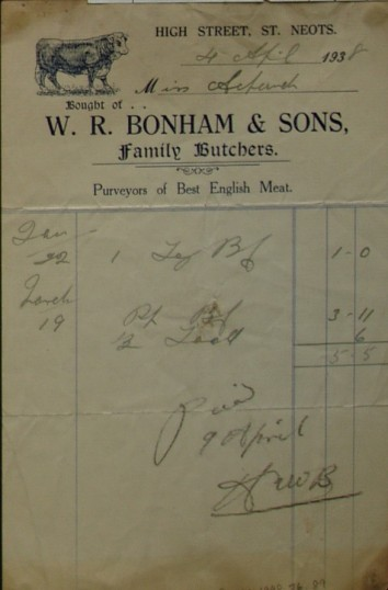 Invoice from W.R. Bonham, Butchers of High Street, St Neots for meat supplied to Miss Achurch, April 1938