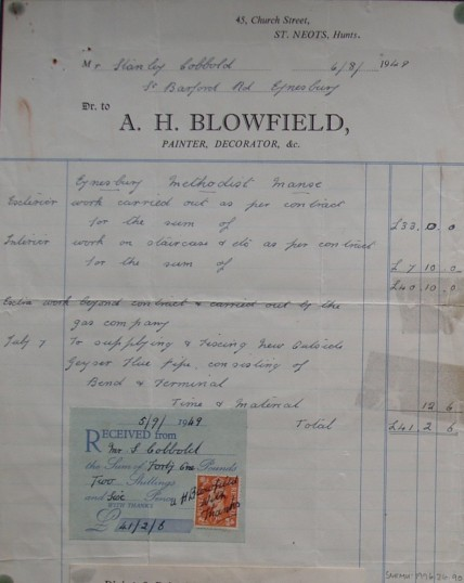 Invoice from A.H. Blowfield, Painter & Decorator of Church Street, St Neots with work carried out at Eynesbury Methodist Manse,