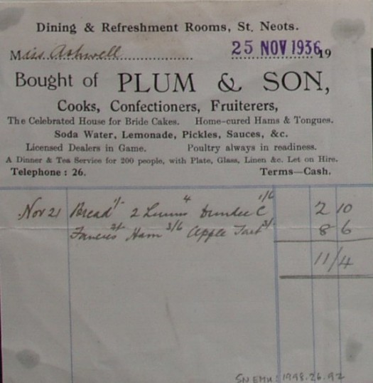 Invoice from Plum and Son, Confectioners and Fruiterers of St Neots for food supplied to Miss Ashwell, November 1936