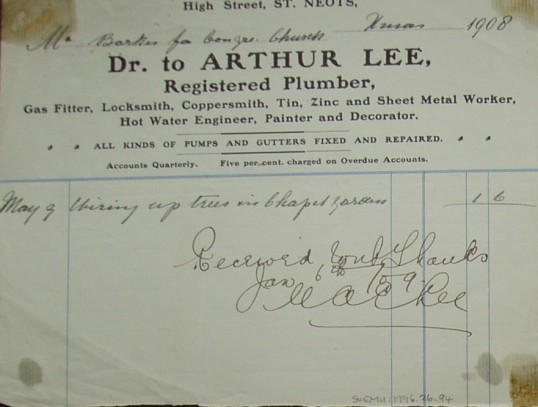 Congregational Church - Invoice from Arthur Lee, plumber, smith & decorator of High Street, St Neots for work on trees in the Congregational Church gardens, dated December 1908