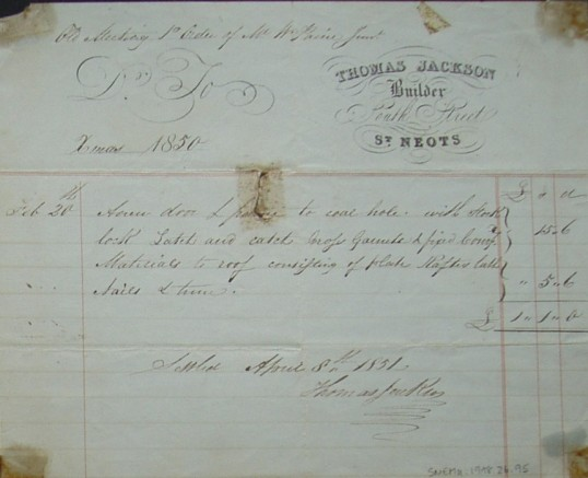Old Meeting House, St Neots - Invoice from Thomas Jackson, builder of South Street, St Neots for work, dated December 1850