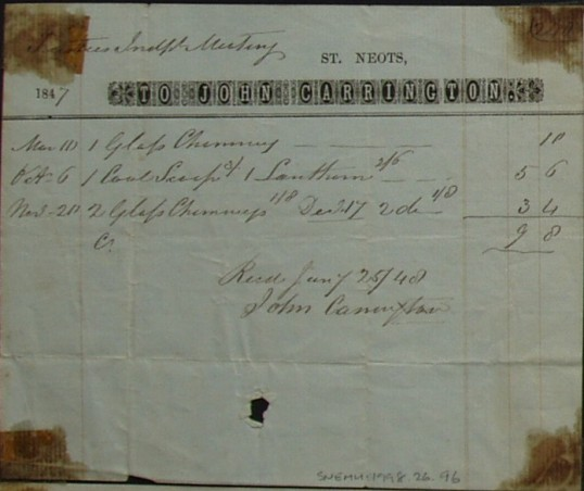 Independent Meeting House, St Neots - Invoice from John Carrington of St Neots for goods supplied to the Trustees, dated 1847