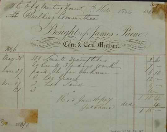 Invoice from James Paine, Corn and Coal Merchant of St Neots, for goods supplied to the Old Meeting House, dated 1846