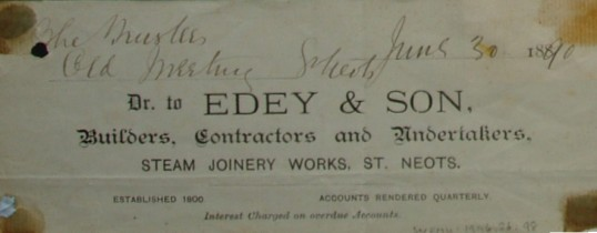 Old Meeting House, St Neots - Part of an invoice from Edey & Son, Builders and Contractors, Steam Joinery Works, St Neots, dated 1890