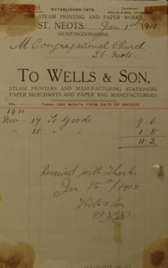 Congregational Church, St Neots - Invoice from Wells & Son, Steam Stationers & Printers of St Neots for goods supplied, dated January 1912