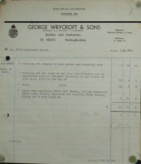 Invoice from George Wrycroft & Sons, Builders and Contractors of St Neots for works at St Neots Methodist Church, January 1954