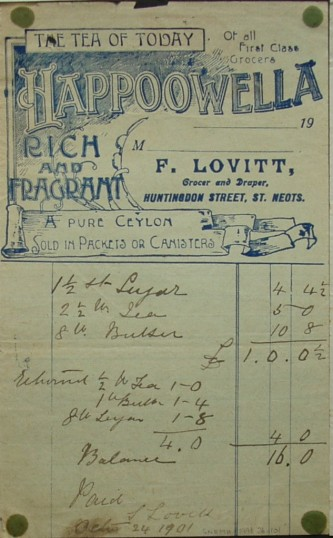 Invoice from F.Lovitt, Grocer & Draper of Huntingdon Street, St Neots for groceries, dated October 1901