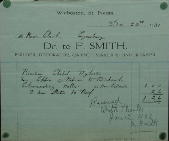 Invoice from F.Smith, Builders and Contractors of Wyboston for work at Wyboston Primitive Chapel, December 1931