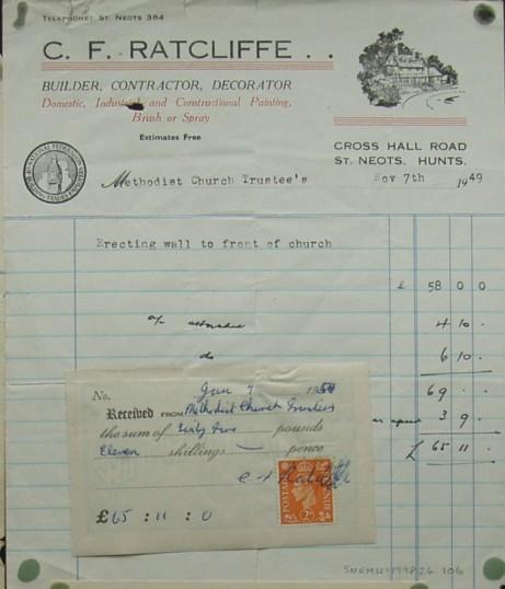 Invoice from C.F.Ratcliffe, Builder, Contractor & Decorator, Cross Hall Rd, Eaton Ford for building a wall at The Methodist Church, November 1949