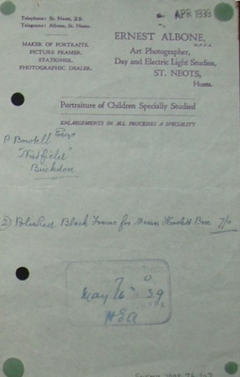 Invoice from Ernest Albone, Photographer of St Neots for a frame supplied to P. Bowtell of Buckden, April 1939