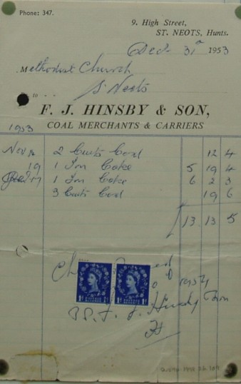 Invoice from F.J. Hinsby & Sons, Coal Merchants of High Street, St Neots for coal supplied to Methodist Church, December 1953