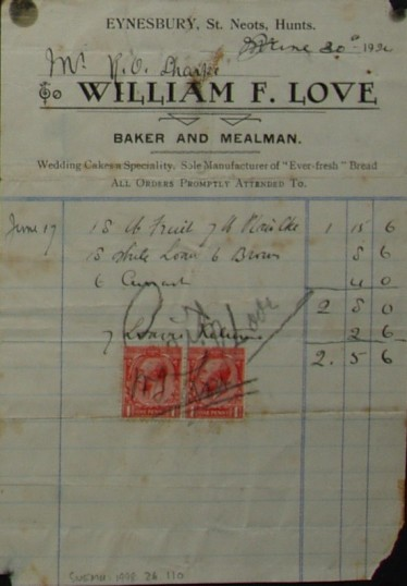 Invoice from William F.Love, Baker and Mealman of Eynesbury for food supplied to Mr R.O. Sharpe, June 1924