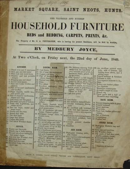 Handbill advertising the sale of G.A. Peppercorn's household belongings by Medbury Joyce, Auctioneer of St Neots, June 1849