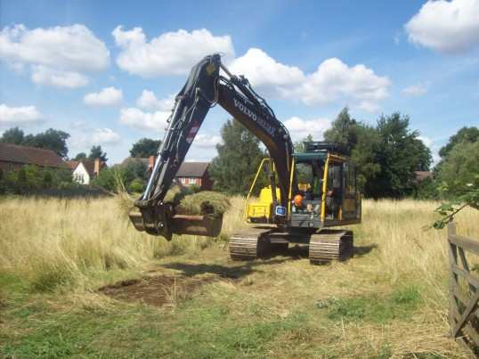 Cutting the first turf at the site of the Eatons Community Centre, The Maltings, Eaton Ford in August 2008