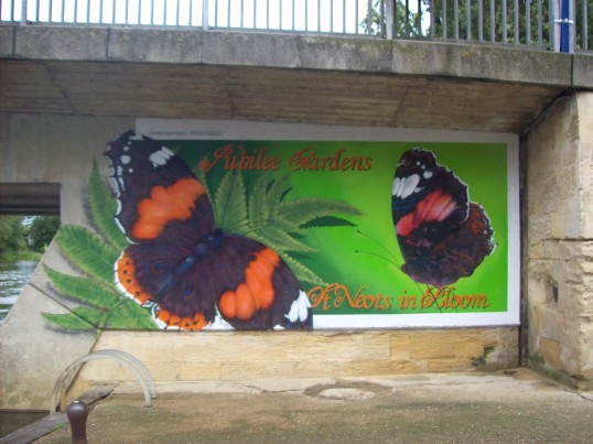 Butterfly Mural under the River Bridge for St Neots in Bloom 2008