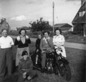 Scales family outside 1 Rookery Rd, Wyboston, about 1951