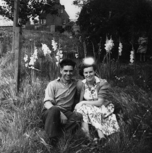 Fred Brinkman and Daphne Scales outside 1 Rookery Rd, Wyboston, in the early 1950s