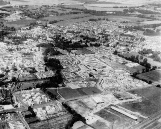 Aerial View of St Neots with Cromwell Rd and two factories in the foreground in 1970