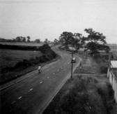 View looking east along Cambridge Rd from St Neots railway bridge around 1952