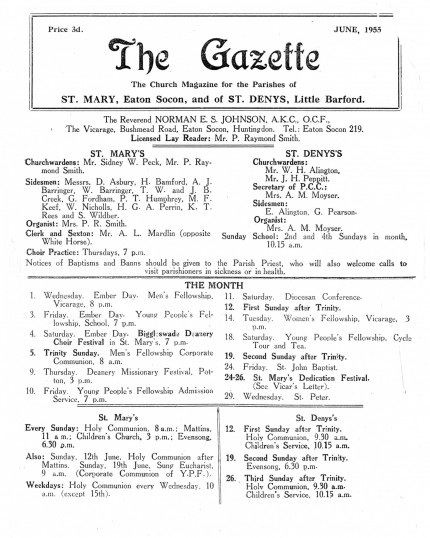 Front cover of The Gazette, the church magazine for St Marys, Eaton Socon and St Denys, Little Barford, June 1955
