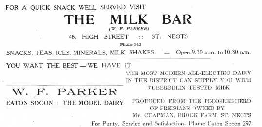 Advert for Parkers Dairy in Eaton Socon and The Milk Bar in St Neots - from The Gazette church magazine, June 1955