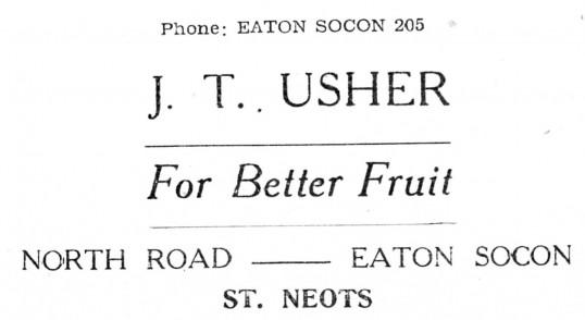 Advert for J.T Usher's Shop in Eaton Socon - from The Gazette church magazine, June 1955