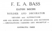 Advert for F. E. A. Bass Builder and Decorator in Eaton Socon - from The Gazette church magazine, June 1955
