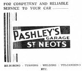 Advert for Pashleys Garage in St Neots - from The Gazette church magazine, June 1955
