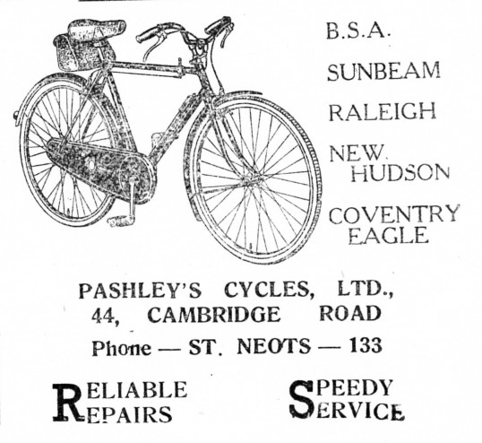 Advert for Pashleys Cycles in St Neots - from The Gazette church magazine, June 1955
