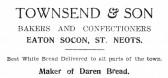 Advert for Townsend & Son Bakery in Eaton Socon - from The Gazette church magazine