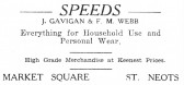 Advert for Speeds Shop in St Neots Market Square - from The Gazette church magazine, June 1955