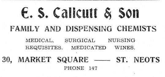 Advert from E. S. Calcutt & Sons Chemist in St Neots Market Square - from The Gazette church magazine, June 1955